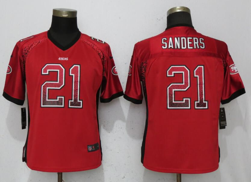 Women San Francisco 49ers 21 Sanders Drift Fashion Red Elite Nike NFL Jerseys