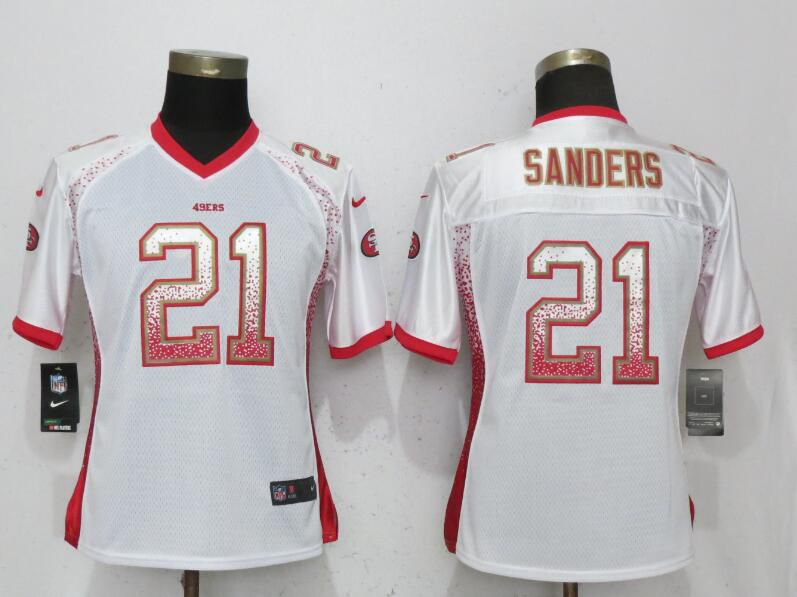 Women San Francisco 49ers 21 Sanders Drift Fashion White Elite Nike NFL Jerseys