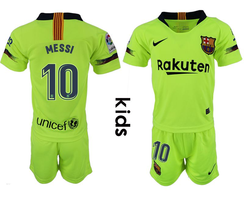 Youth 2018-2019 club Barcelona away 10 fluorescent green soccer jersey