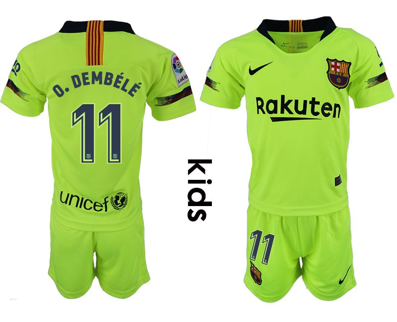 Youth 2018-2019 club Barcelona away 11 fluorescent green soccer jersey