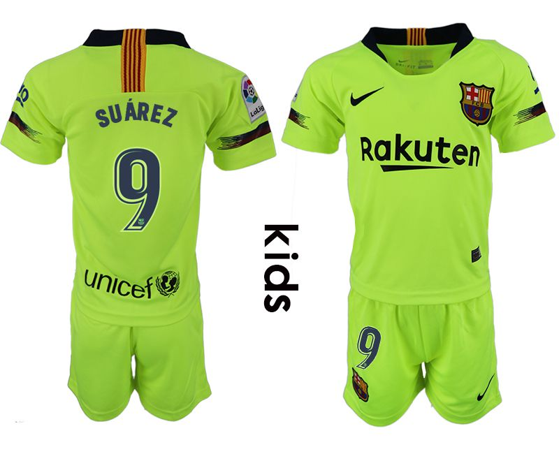 Youth 2018-2019 club Barcelona away 9 fluorescent green soccer jersey