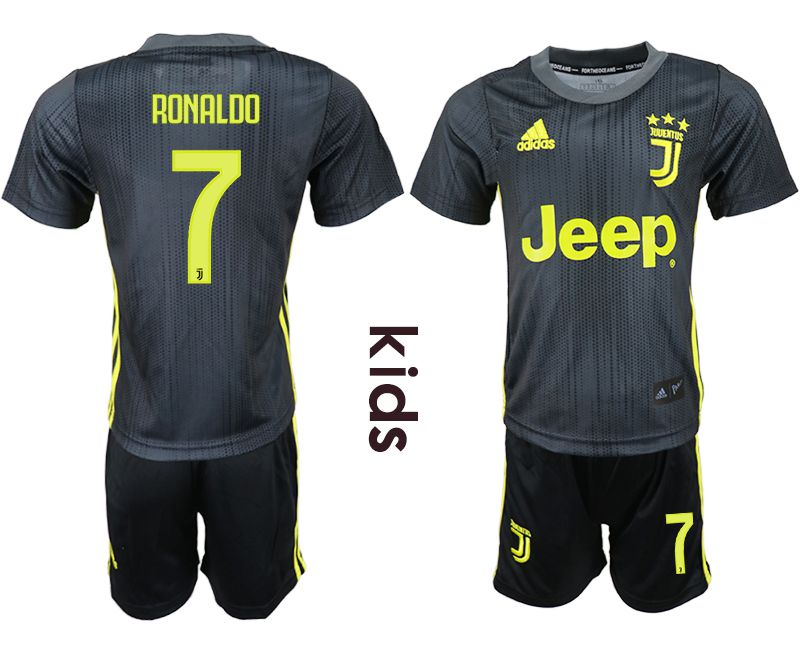 Youth 2018-2019 club Juventus FC away 7 black soccer jersey