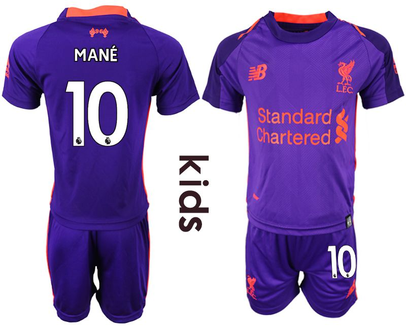 Youth 2018-2019 club Liverpool away 10 purple soccer jersey