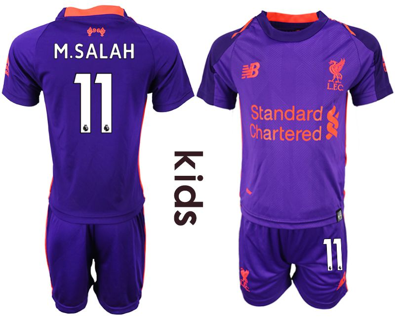 Youth 2018-2019 club Liverpool away 11 purple soccer jersey