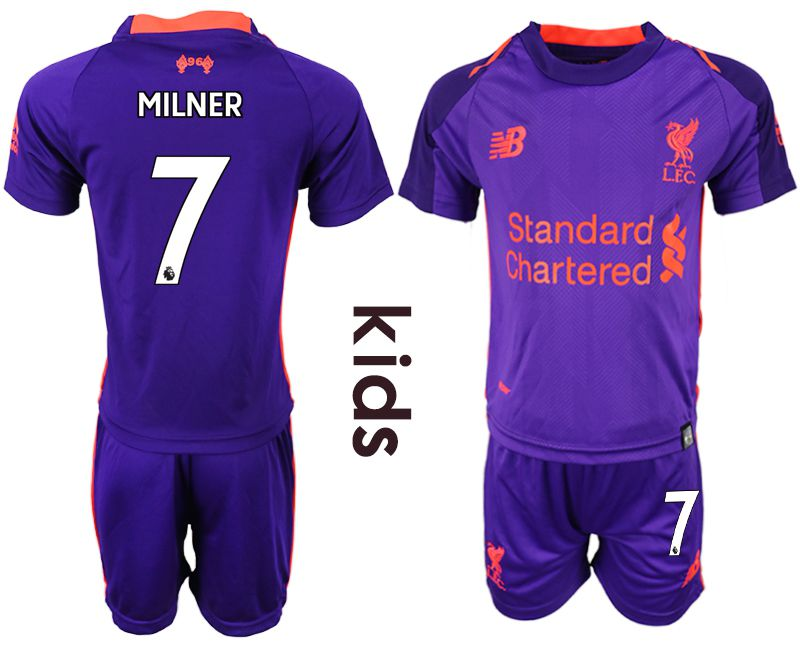 Youth 2018-2019 club Liverpool away 7 purple soccer jersey