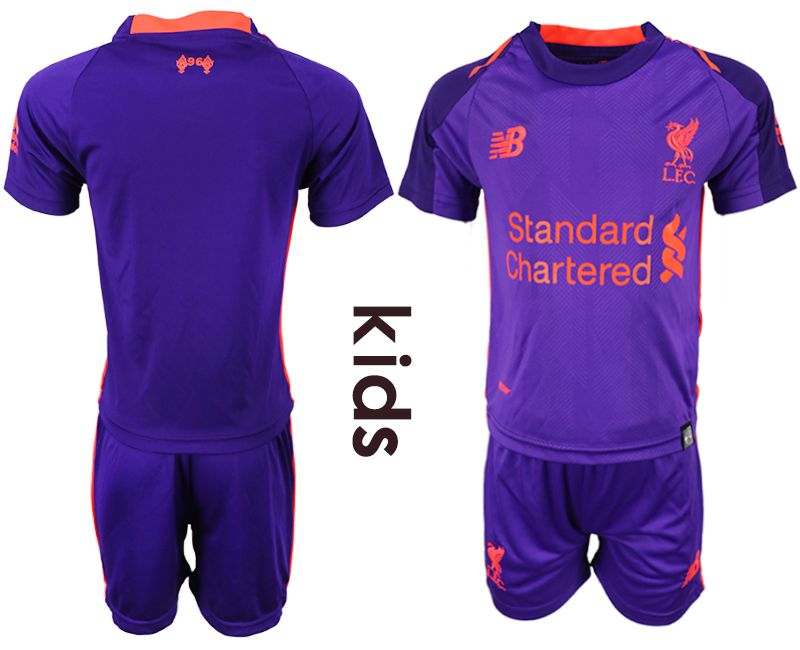 Youth 2018-2019 club Liverpool away purple soccer jersey