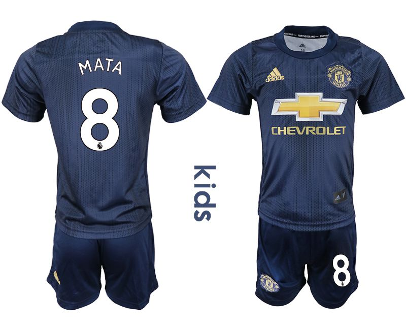 Youth 2018-2019 club Manchester United away 8 blue soccer jersey