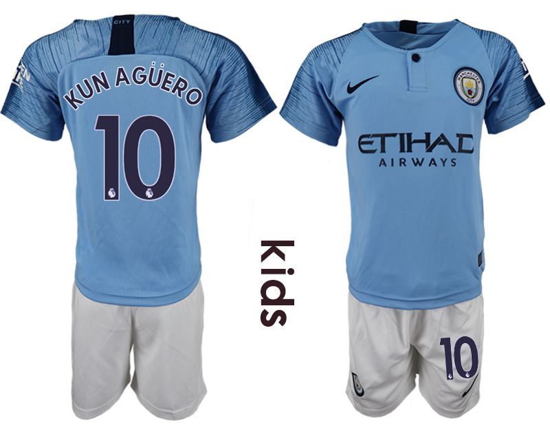 Youth 2018-2019 club manchester city home 10 blue soccer jersey