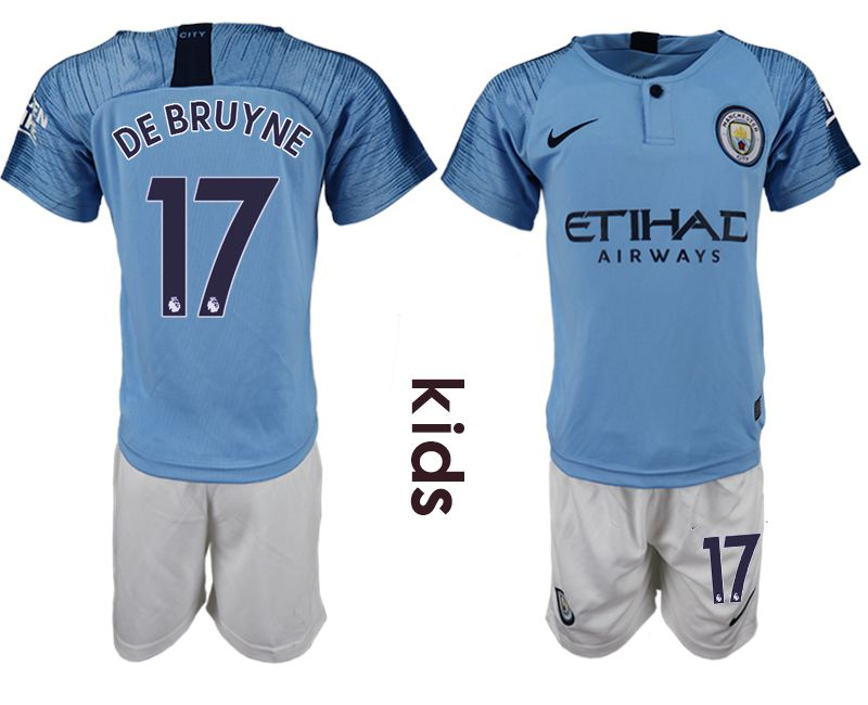 Youth 2018-2019 club manchester city home 17 blue soccer jersey