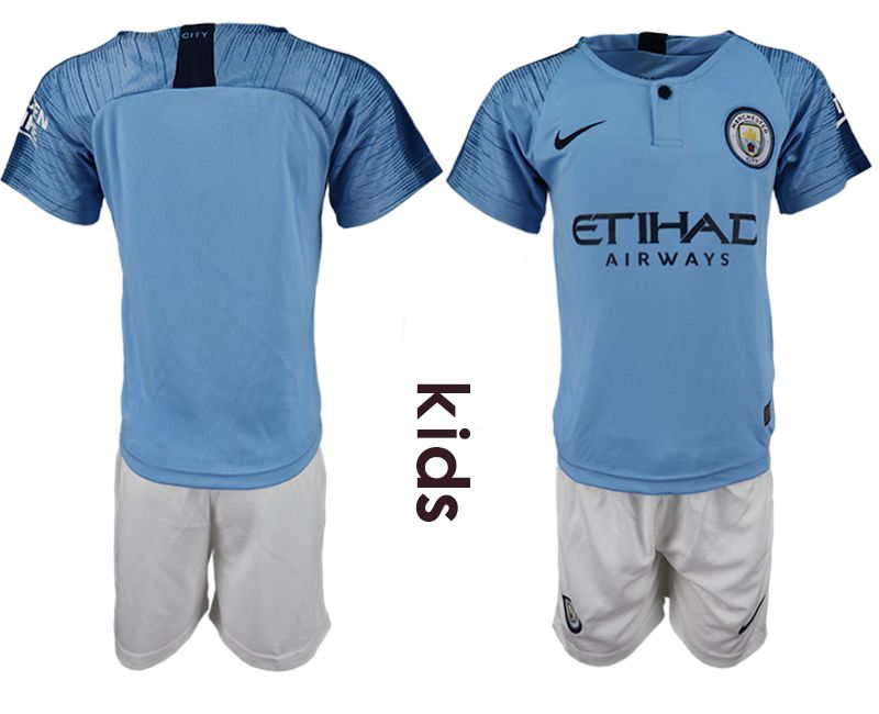 Youth 2018-2019 club manchester city home blue soccer jersey