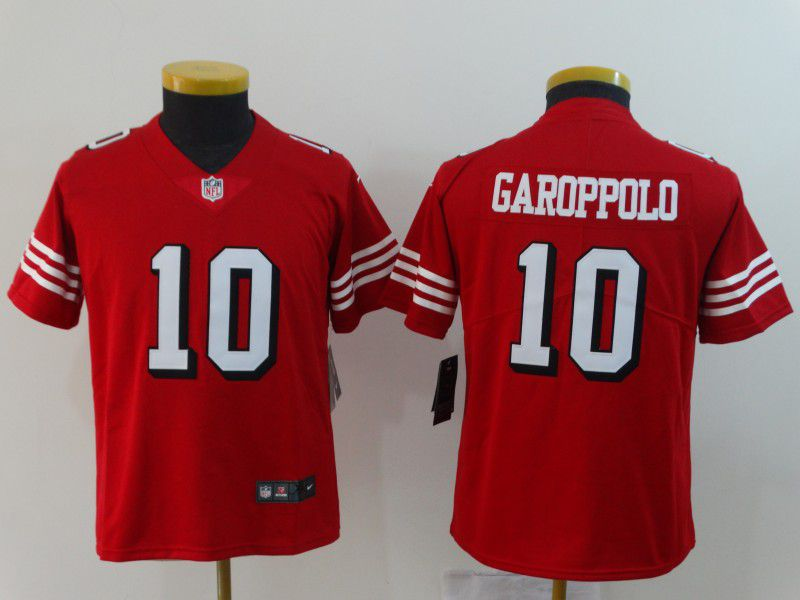 Youth San Francisco 49ers 10 Garoppolo Red Nike Vapor Untouchable Limited NFL Jerseys