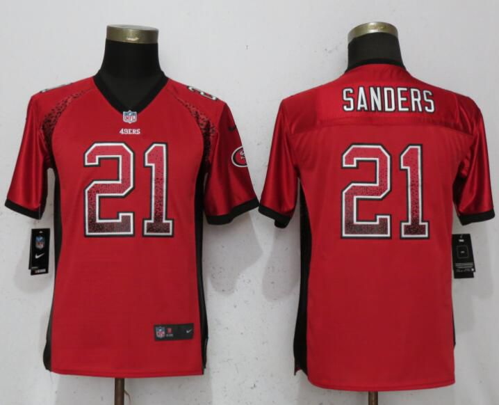 Youth San Francisco 49ers 21 Sanders Drift Fashion Red Elite Nike NFL Jerseys