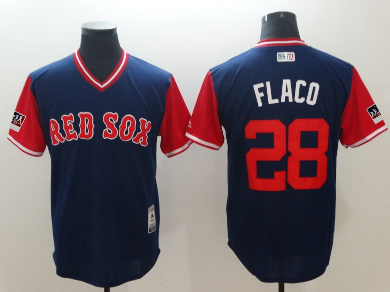 2018 Men Boston Red Sox 28 Flaco Blue New Rush Limited MLB Jerseys