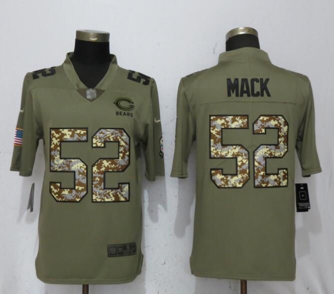 2018 Men New Nike Chicago Bears 52 Mack OliveCamo Carson Salute to Service Limited Jersey