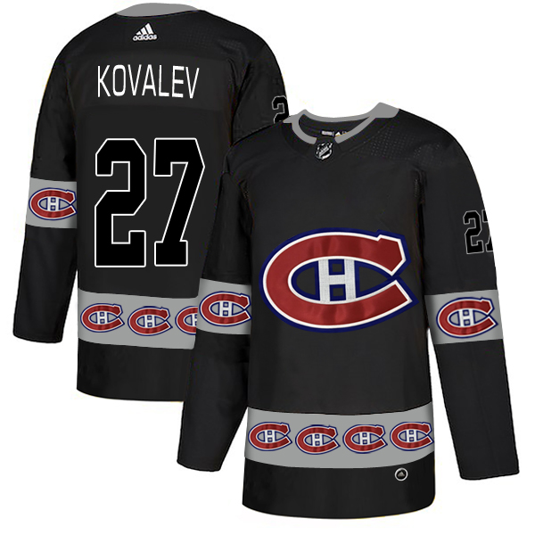 2018 NHL Men Montreal Canadiens 27 Kovalev black jerseys