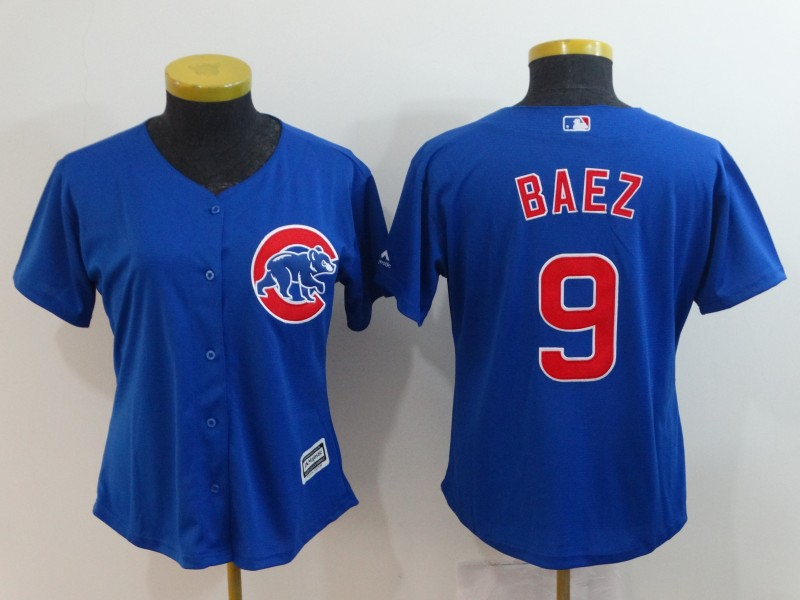 2018 Women Chicago Cubs 9 Baez blue new Rush limited MLB Jerseys