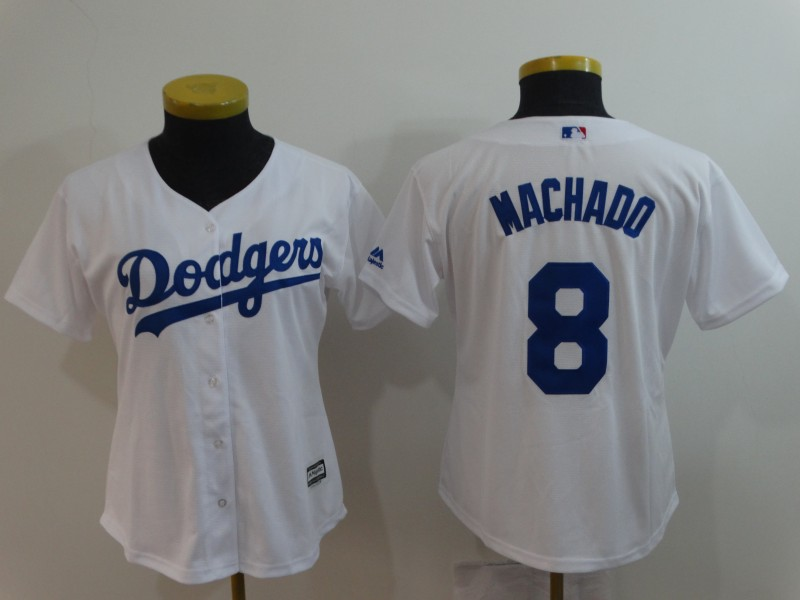 2018 Women Los Angeles Dodgers 8 Machado white MLB Jerseys