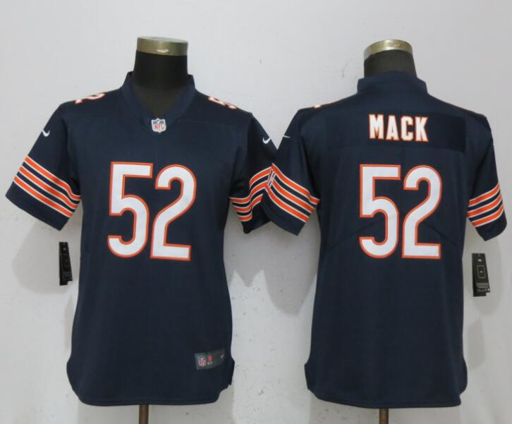 2018 Women New Nike Chicago Bears 52 Mack Blue Vapor Untouchable Elite Player
