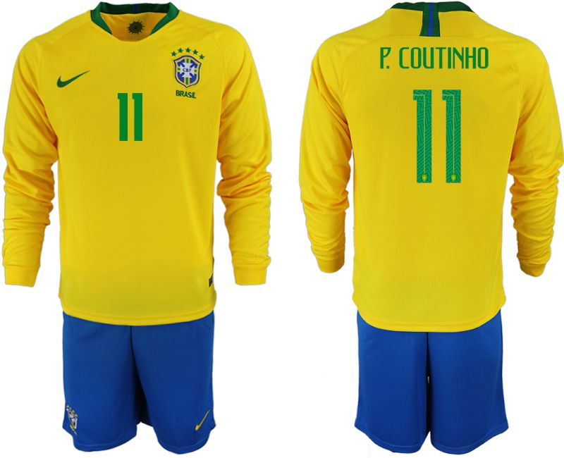 Men 2018 World Cup Brazil home Long sleeve 11 yellow soccer jerseys