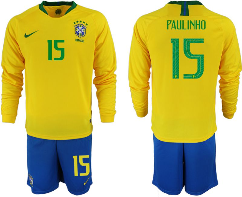 Men 2018 World Cup Brazil home Long sleeve 15 yellow soccer jerseys