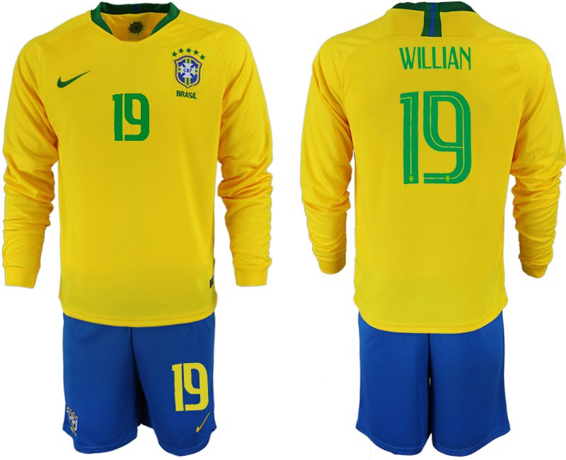 Men 2018 World Cup Brazil home Long sleeve 19 yellow soccer jerseys