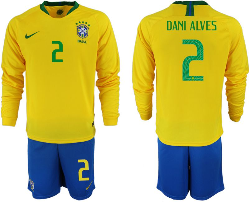 Men 2018 World Cup Brazil home Long sleeve 2 yellow soccer jerseys
