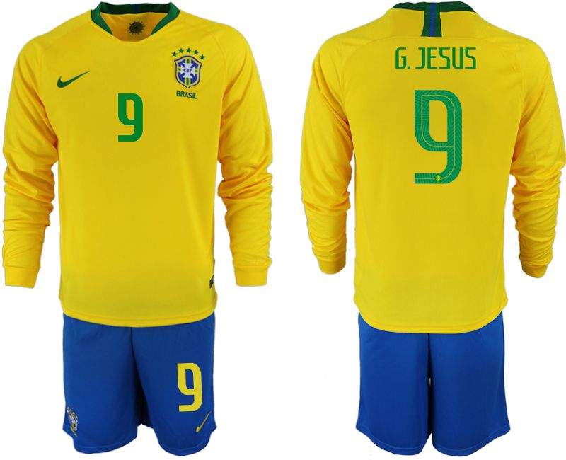 Men 2018 World Cup Brazil home Long sleeve 9 yellow soccer jerseys