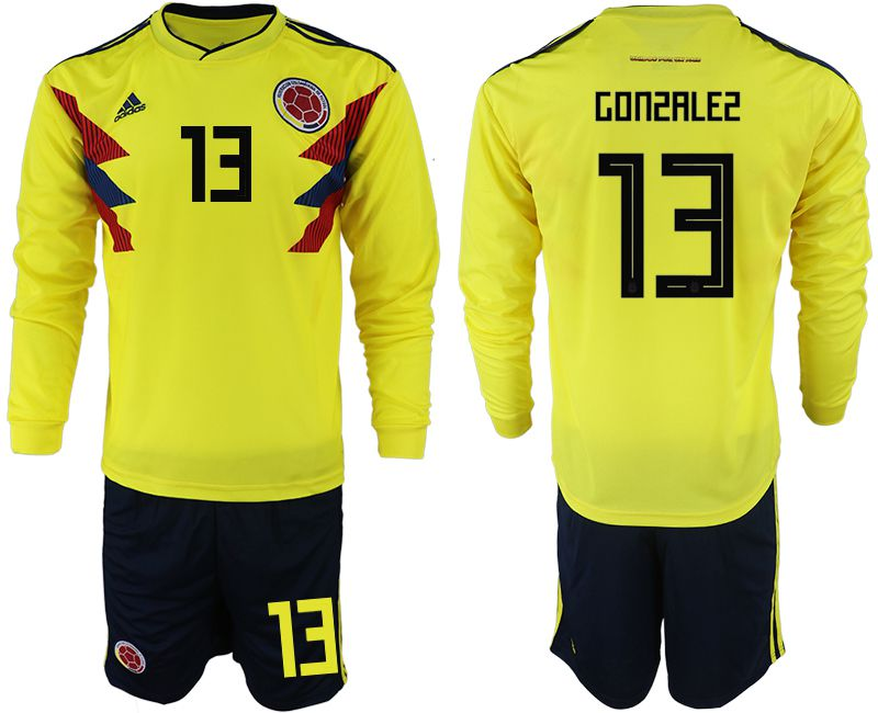 Men 2018 World Cup Colombia home Long sleeve 13 yellow soccer jerseys