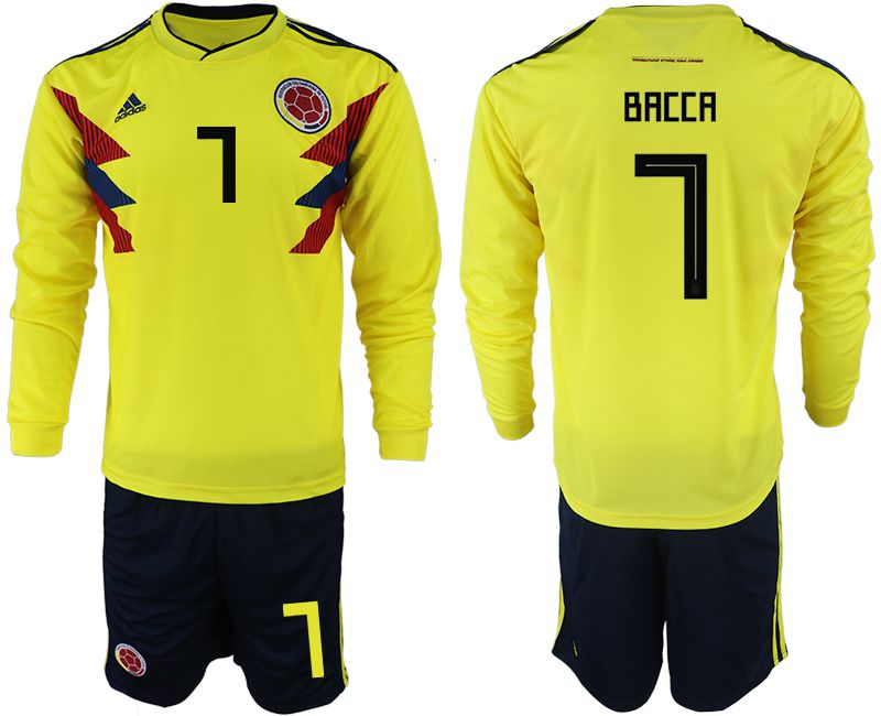 Men 2018 World Cup Colombia home Long sleeve 7 yellow soccer jerseys