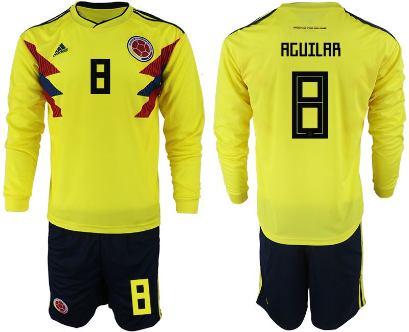 Men 2018 World Cup Colombia home Long sleeve 8 yellow soccer jerseys