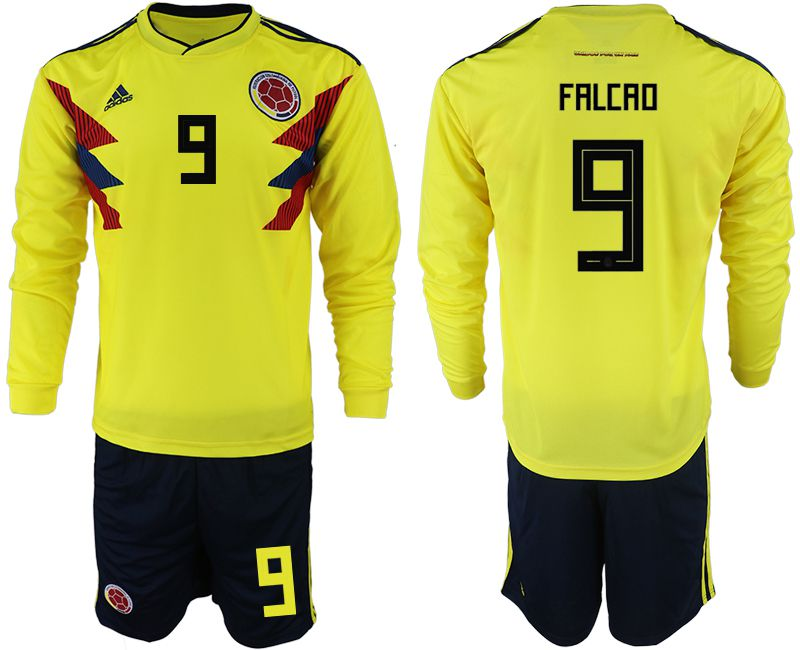 Men 2018 World Cup Colombia home Long sleeve 9 yellow soccer jerseys