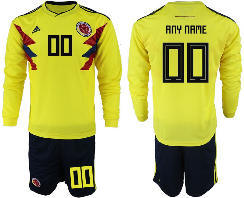 Men 2018 World Cup Colombia home Long sleeve customized yellow soccer jerseys