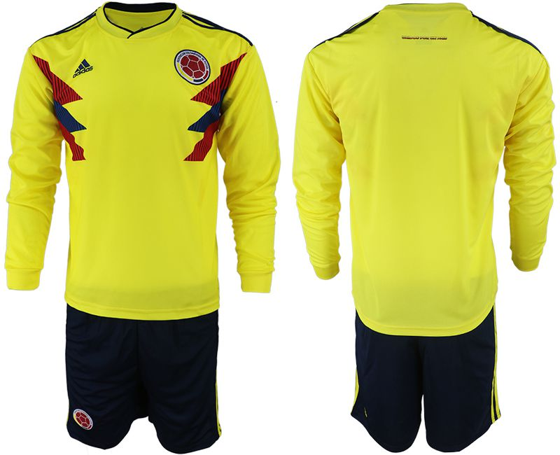 Men 2018 World Cup Colombia home Long sleeve yellow soccer jerseys