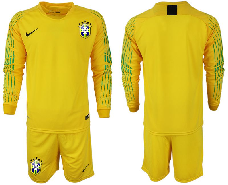 Men 2018-2019 National Brazil green goalkeeper long sleeve soccer jersey