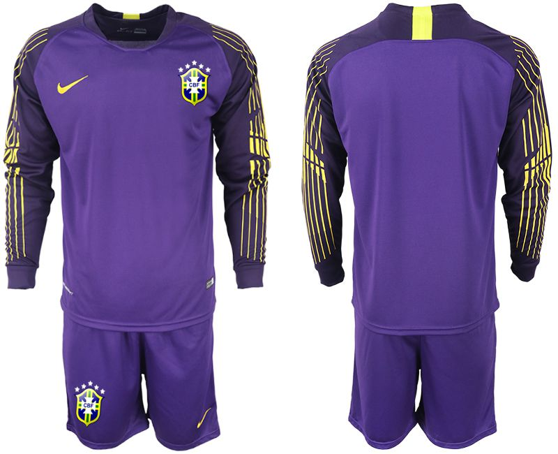 Men 2018-2019 National Brazil violet long sleeve goalkeeper soccer jersey