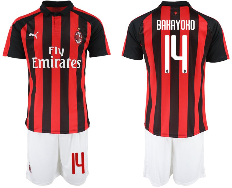 Men 2018-2019 club AC milan home 14 red soccer jerseys