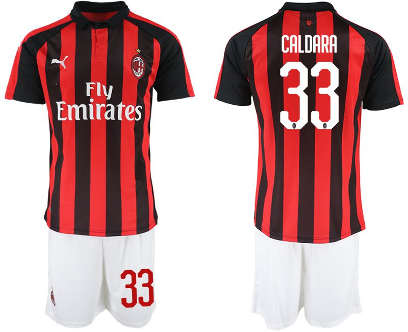 Men 2018-2019 club AC milan home 33 red soccer jerseys