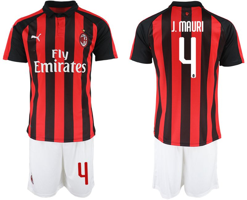 Men 2018-2019 club AC milan home 4 red soccer jerseys