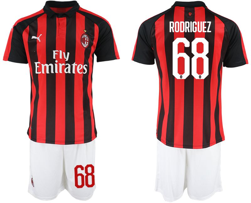 Men 2018-2019 club AC milan home 68 red soccer jerseys