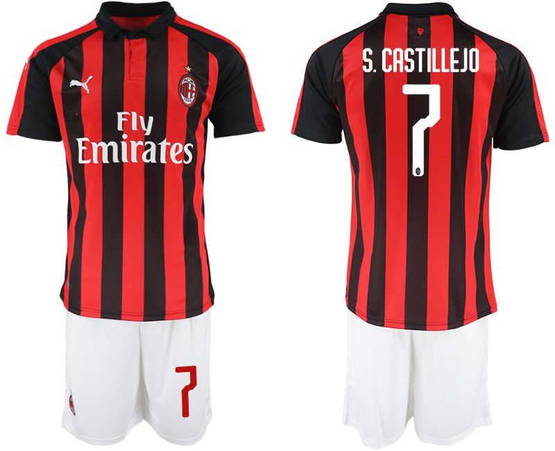 Men 2018-2019 club AC milan home 7 red soccer jerseys