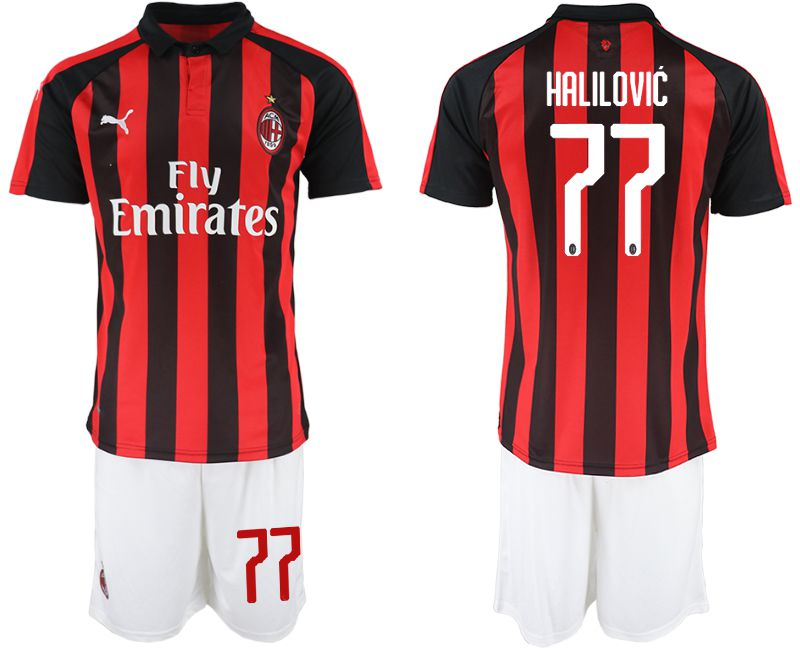 Men 2018-2019 club AC milan home 77 red soccer jerseys