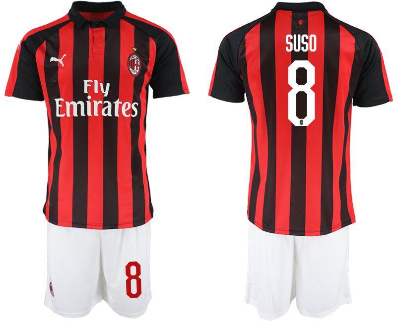 Men 2018-2019 club AC milan home 8 red soccer jerseys