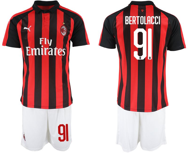 Men 2018-2019 club AC milan home 91 red soccer jerseys