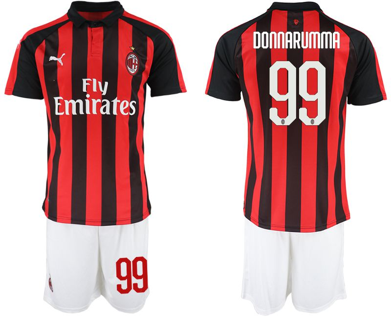 Men 2018-2019 club AC milan home 99 red soccer jerseys