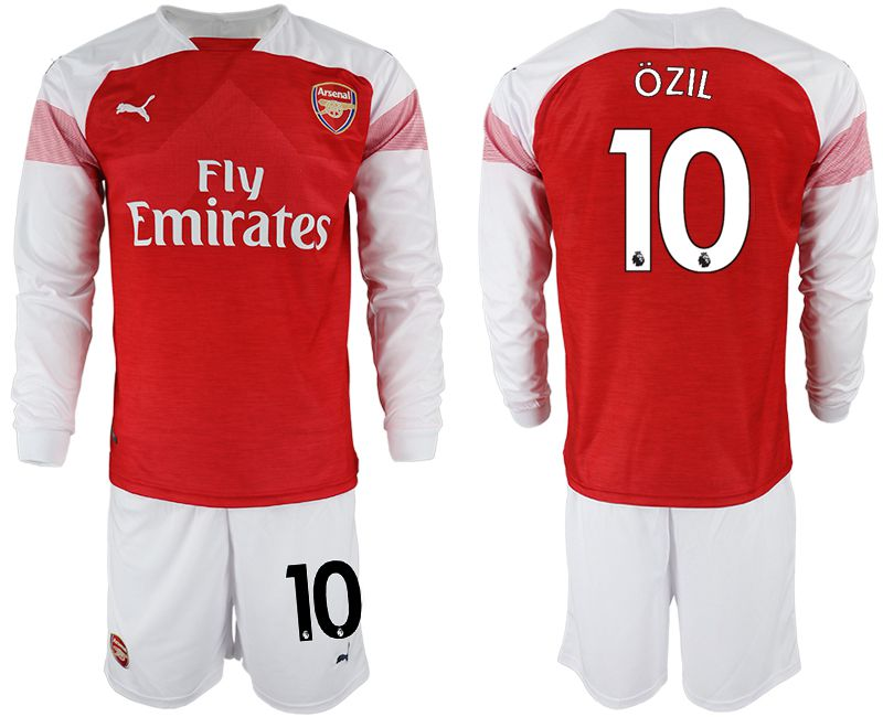 Men 2018-2019 club Arsenal home long sleeve 10 red soccer jersey