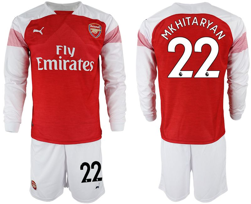 Men 2018-2019 club Arsenal home long sleeve 22 red soccer jersey