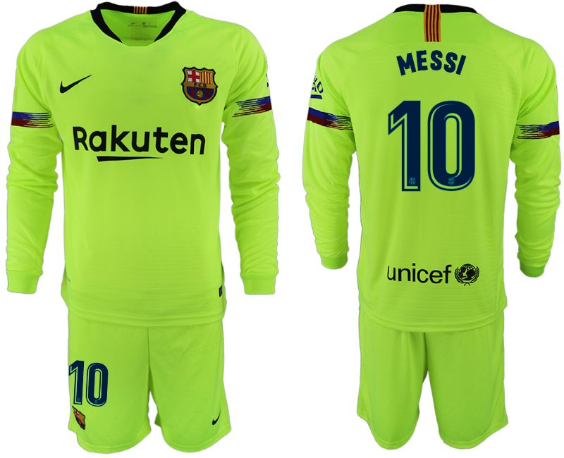 Men 2018-2019 club Barcelona away long sleeve 10 fluorescent green soccer jersey1