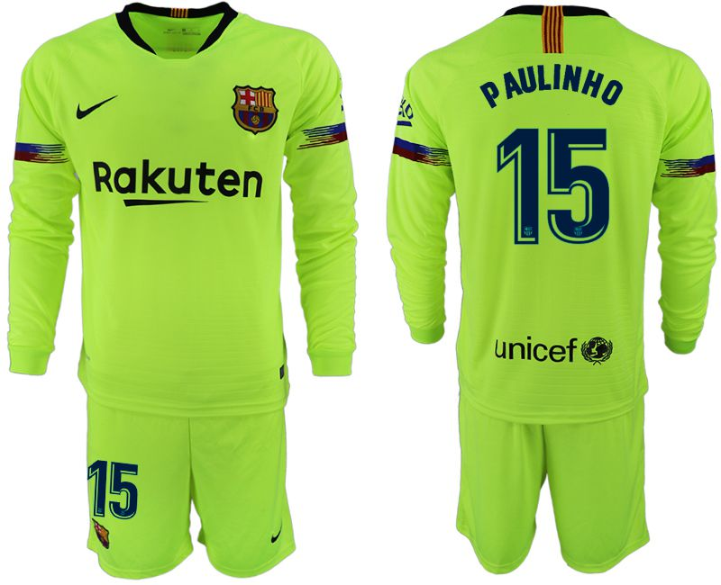 Men 2018-2019 club Barcelona away long sleeve 15 fluorescent green soccer jersey