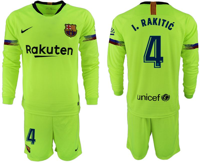 Men 2018-2019 club Barcelona away long sleeve 4 fluorescent green soccer jersey