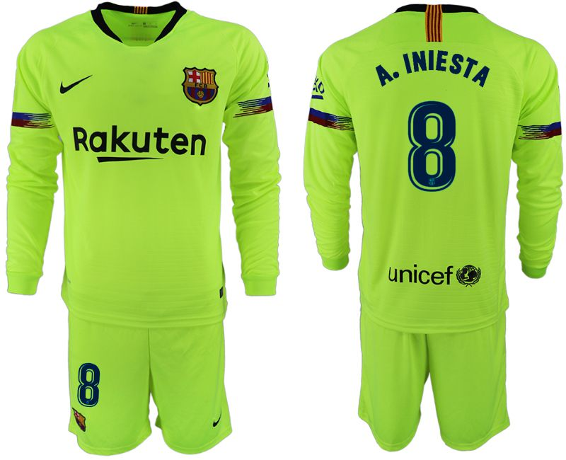 Men 2018-2019 club Barcelona away long sleeve 8 fluorescent green soccer jersey